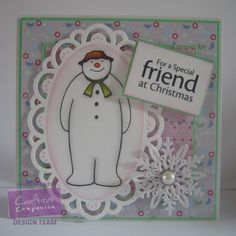 @crafterscomp Snowman stamp and sentiment, papers from Snowman/Snowdog party CD ROM, Die'sire snowflake dies, Die'sire oval frame
