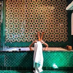 Home is where the perfect green #bathroom is  #aitmanos #tiles #tiledesign #tilelove #zellige #handmade #morocco #marrakech