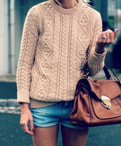 Irish knit sweater, faded jean shorts, brown bag. Simple, cute, classic, women's fashion, fashion.