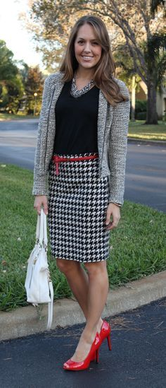Houndstooth Pencil Skirt Black Top Gray Sweater Skinny Red Belt and Red High Heels