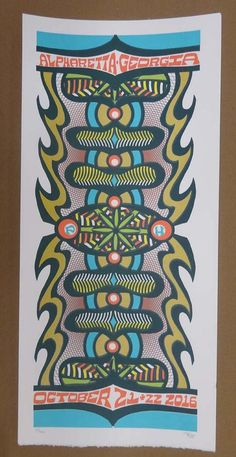 Original silkscreen concert poster for Phish at The Verizon Wireless Amphitheatre at Encore Park in Alpharetta, GA in 2016. It is printed on Watercolor Paper with Acrylic Inks and measures around 10 x 22 inches.  Print is signed and numbered out of 142 by the artist Tripp.