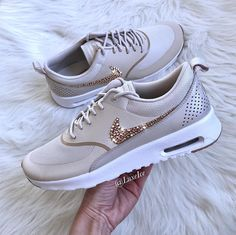 Nike Air Max Thea customized with Rose Gold Swarovski Crystals 💎💎💎 Air Max Thea, Air Max 90, Nike Thea, Girls Sneakers, Sneakers Fashion, Sneakers Nike, Nike Air Max, Cute Shoes, On Shoes