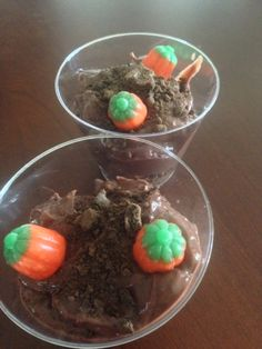 Awana cubbies creation day 3 snack. God created the dry land, plants and trees. Chocolate pudding, crushed cookies, and pumpkin candies.