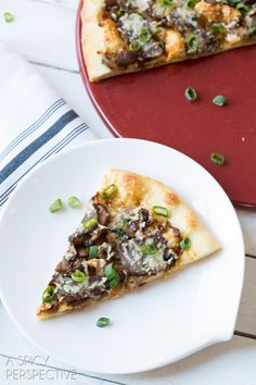 Easy Homemade Pizza with New York Strip, Spicy Mustard, and Mushrooms! #pizza #steak #mushrooms #recipe