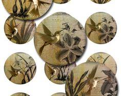 Dragonflies Ephemera Ferns 1 1.5 2 Inch Instant by pixeltwister