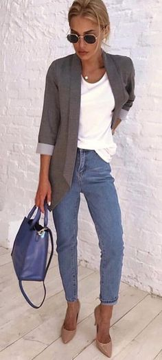 #fall #outfits women's gray cardigan, white top, blue denim jeans, with pair of brown patent leather pointed-toe heeled shoes outfit