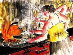 """Ai que calor""- Desafio_56 JULY 19, 2015 AT 3:46 PM from Urban Sketchers Portugal by teresa ruivo"