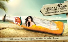 """This is an ad in India for a Mango flavored drink called Slice. """"The brand ambassado is Katrina Kaif, undoubtedly India's most popular actress."""" The ad puts her inside the bottle and merges her with the liquid, then offers her as a date. Social Science Project, Popular Actresses, University Of Minnesota, Fiji Water Bottle, Katrina Kaif, Photoshoot, Drinks, India, Image"""