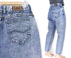 Sz 12 P 80s High Waisted Acid Wash Lee Jeans - Vintage Tapered Leg High Rise Mom Jeans