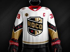 ROCO Hockey Jersey designed by Marco Fesyuk. Connect with them on Dribbble; Jersey Boys, Hockey Teams, Swat, Nhl, Shirt Designs, United States, Branding, Athletic, Logo
