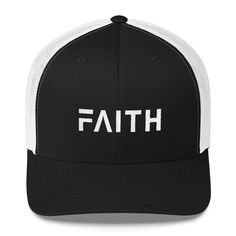 Hats & Caps, Men's Hats & Caps, Baseball Caps, Faith Christian Trucker Hat With White Stitching by - Black and White - Caps Baseball Cap Outfit, Black Baseball Cap, Baseball Caps, Christian Hats, Christian Clothing, Cap Girl, Embroidered Hats, White Embroidery, Dad Hats