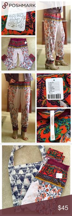 FREE PEOPLE Boho Harem Jogger Pants ☮️ NWT Harem/Jogger style pants by Free People! These pants are in a lightweight crinkly rayon with Boho style prints! They have hip pockets and an elastic waistband for an easy fit. Size xs but tend to run a little big. A must have for summer!! Free People Pants