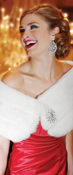 Diamonds, red dress and faux fur shawl - perfect for Christmas entertaining.