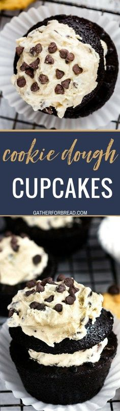 Cookie Dough Chocolate Cupcakes Homemade recipe for chocolate cupcakes stuffed with chocolate chip cookie dough frosting. Sweet Desserts, Easy Desserts, Delicious Desserts, Dessert Recipes, Dessert Ideas, Pasta Recipes, Bread Recipes, Chocolate Chip Cookie Dough, Chocolate Cupcakes
