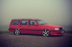 Lowered red 850R wagon.