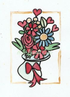 floral vase Art Cards, Hand Painting Art, Paint Designs, Rooster, Handmade Jewelry, Hand Painted, Vase, Floral, Crafts