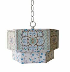 Large Blue Moroccan Hexagon Pendant - This stylish Charn and Company double pendant transforms any room with Caden Lane fabrics. Be bold and bring out the fun with this amazing double pendan Moroccan Blue, Moroccan Style, Lighting Sale, Cool Lighting, Kids Lighting, Lighting Ideas, Pendant Lighting, Blue Pendant Light, Buy Chandelier