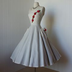 vintage 1950s dress   ...amazing creamy white linen pin-up bombshell dress with a full circle skirt and gorgeous 3-d roses and thinestones