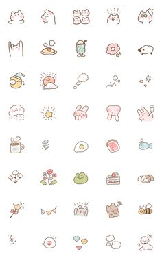 everyday use emoji – LINE อิโมจิ Cute Small Drawings, Mini Drawings, Kawaii Drawings, Simple Doodles, Cute Doodles, Kawaii Doodles, Kawaii Stickers, Cute Stickers, Griffonnages Kawaii
