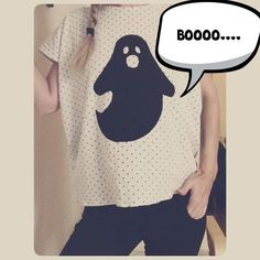 Little Ghost....by MaryMe....  #fashion #clothes #women #style #ghost #top #dot #white #black #handmade #maryme