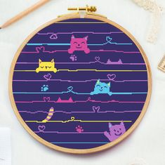 Excited to share this item from my shop: Cartoon cats cross stitch pattern Nursery counted cross stitch Funny newborn xstitch Baby room decor ebmroidery pattern DIY pdf Baby Cross Stitch Patterns, Cat Cross Stitches, Cross Stitching, Stitching Patterns, Nursery Patterns, Cross Stitch Quotes, Cartoon Cats, Baby Cartoon, Small Cross Stitch