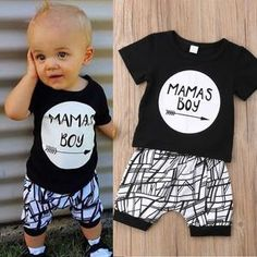New Born Baby Clothes Set Black Letter Print Tshirt For Boys White Stripe Pants Legging Baby Boys Clothes Newborn Set - Baby Boy Names Baby Girl Names Newborn Boy Clothes, Funny Baby Clothes, Funny Babies, Boy Newborn, Baby Outfits, Newborn Outfits, Trendy Outfits, Baby Set, Baby Monat Für Monat