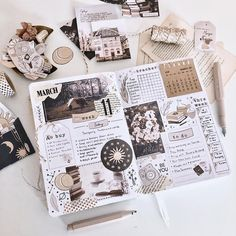 I used my printable bullet journal and planner kit to create this spread in my notebook. Bullet Journal Kit, Bullet Journal Aesthetic, Bullet Journal Ideas Pages, Scrapbook Journal, Journal Layout, Journal Design, Creative Journal, Planer Cover, Minimalist Bullet Journal