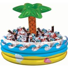 Luau Party Cooler Hawaiian Inflatable Cooler Tropical Theme Outdoor Decor