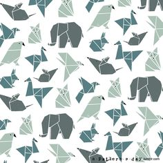 Origami animals pattern illustration