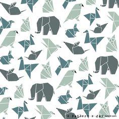 Imprimir en chiquito para hacer muchos cuadritos Origami animals pattern illustration