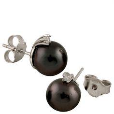 buyinvite.com.au - Gilo Pearls Diamond Tahitian Earrings-Black-14K White Gold