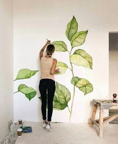 Leaves on a wall. Leaves on a wall. Leaves on a wall. Leaves on a wall. Deco Design, Wall Design, Studio Design, Design Art, Wall Drawing, Mural Art, Diy Home Decor, Room Decor, Interior Design