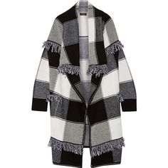 Burberry Prorsum Fringed checked wool and cashmere-blend cardigan (€2.455) ❤ liked on Polyvore featuring tops and cardigans