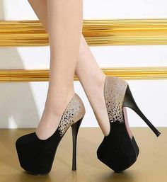 Black ang golden high heel shoes 2018