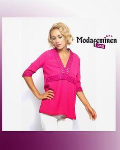 İroni Yaka Kol Dantelli Bluz-Fuşya  Eşi Benzeri Olmayan Bluz!  Hemen İnceleyin: http://www.modafeminen.com   #Yeni #Bluz #Giyim #Moda