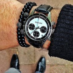 Men's Matte Agate Black Rhodium Plated Zircon Disco Ball Beaded Bracelet 1 Set #Handmade #Beaded