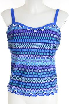 4cd49665d1f4d Profile Blue White Abstract Print Spaghetti Strap Tankini Top Size 32 D New  $98 #fashion #clothing #shoes #accessories #womensclothing #swimwear (ebay  link)