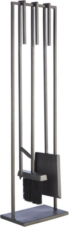 3-piece bend gunmetal standing fireplace tool set | CB2