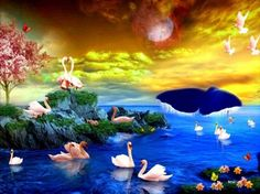 Swans Paradise - lake, reflection, pink, rocks, tree, swans, vegetation, sunset, butterflies, white swans, colorful flowers, painting, white birds, full moon, clouds, moon, dusk