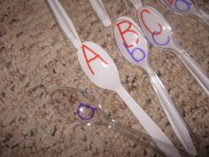 Match upper and lower case letters - One colored spoon and one clear along with a sharpie or two.   If you lose a piece - they are easy to replace!!    Great quiet activity to play at a restaurant too.