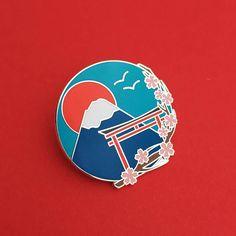 Japan Mount Fuji Cherry Blossom Enamel Pin Badge Pretty Pin