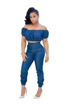 1c400b7013f41 Casual Women Strapless Long Denim Jumpsuit Sexy Short Sleeve Crop Top 2  Piece Set Jeans Coveralls