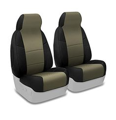 Coverking Custom Fit Front 50/50 Bucket Seat Cover for Select Ford Models - Spacermesh 2-Tone (Taupe with Black Sides)