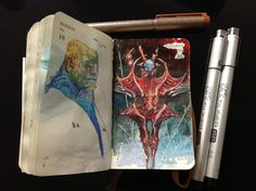 Numbers 139 and 140 of Kenneth Rocafort's 365 day sketch project (2014).