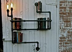 Industrial Pipe Shelf with Lighting by stellableudesigns on Etsy. Love it.