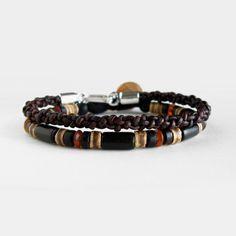Mens beaded and leather bracelet set black by DistinctRemarks