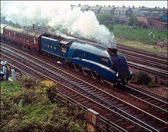 LNER Pacific class Mallard on Sunday 3 July 1938 reached an unbeaten steam locomotive world-record speed of 126 mph, photo courtesy of National Railway Museum & BBC-Tyneside -- 070810 Mallard Train, Uk Rail, National Railway Museum, Steam Railway, Train Art, British Rail, Old Trains, Train Engines, Steam Locomotive