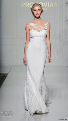 """Pronovias 2016 Wedding Dresses — New York Bridal Runway Show   Wedding Inspirasi   """"Prunelle"""" -- Lace & Silk Crepe Column/Sheath Wedding Gown Featuring Sheer Illusion Lace Bateau/Sweetheart Neckline & Back, Lace Chapel Length Train; (Front/Full View)****"""