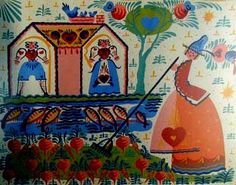 Summer A woman tends her overflowing garden while a bluebird tends her new brood and fish leap in the stream in this silkscreen, part of the Four Seasons series.
