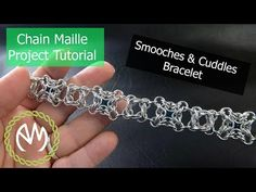 Chain Maille Project Tutorial - Smooches and Cuddles Bracelet Wire Jewelry Designs, Diy Jewelry, Beaded Jewelry, Beaded Bracelets, Jewelry Ideas, Jewelry Making Tutorials, Jewellery Making, Chainmaille Bracelet, Wire Weaving